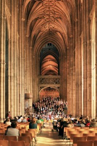 Canterbury Choral Society images of rehearsal in Canterbury Cathedral