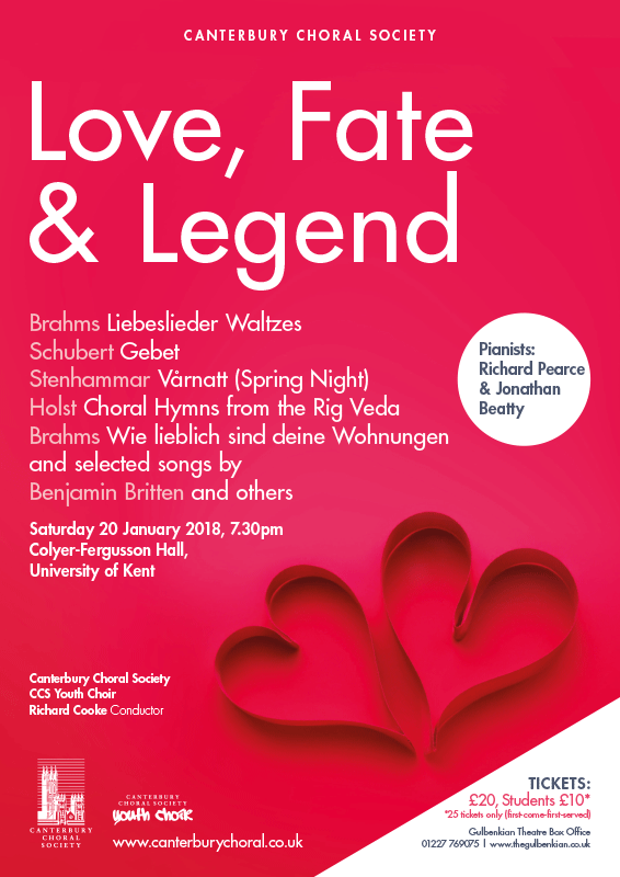 Love Fate Legend 2018 Canterbury Choral Society poster