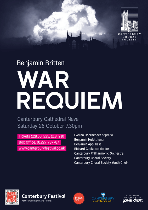 War Requiem 2013 Canterbury Choral Society poster