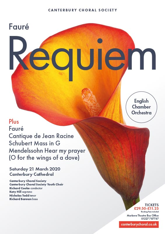 Canterbury Choral Society poster for Faure Requiem