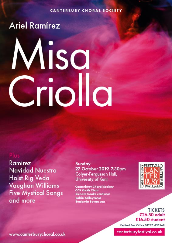 Poster for Ramirez Misa Criolla concert at University of Kent with Canterbury Choral Society